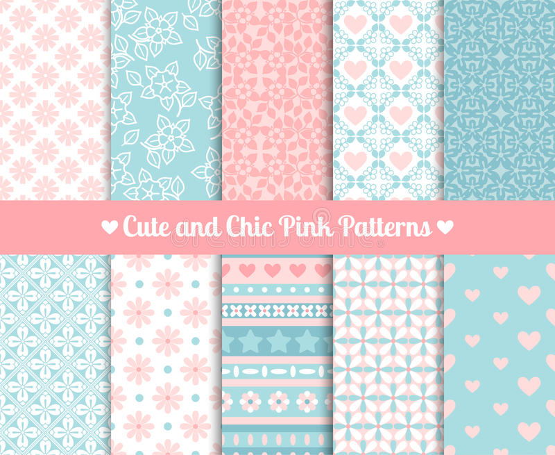 Chic Pink and blue Patterns vector illustration