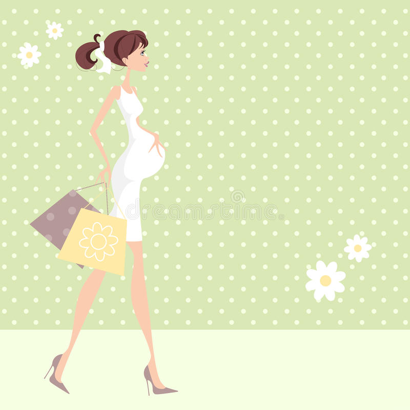 Download Pregnant Shopping Woman stock illustration. Illustration of pony - 29996878