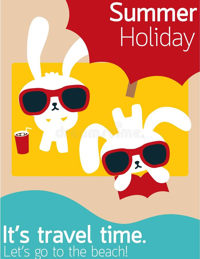 Download Chic Rabbit On The Beach In Summertime Stock Illustration - Illustration: 31520532