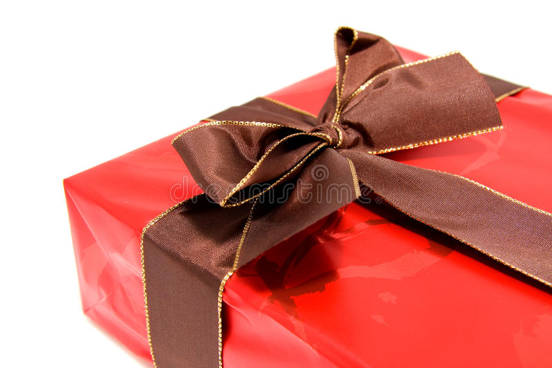 Download Chic Red Present With Brown Bow Stock Photo - Image: 11196462
