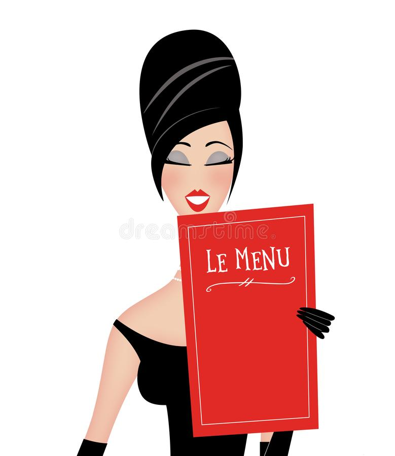 Free Chic Retro Woman Reading A Restaurant Menu Royalty Free Stock Photos - 139661698