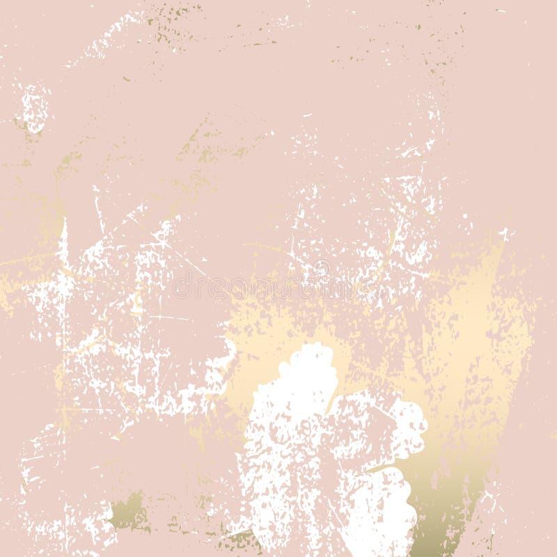 Chic rougissent la texture grunge de marbre ? la mode d'or de rose avec l'ornement floral illustration libre de droits