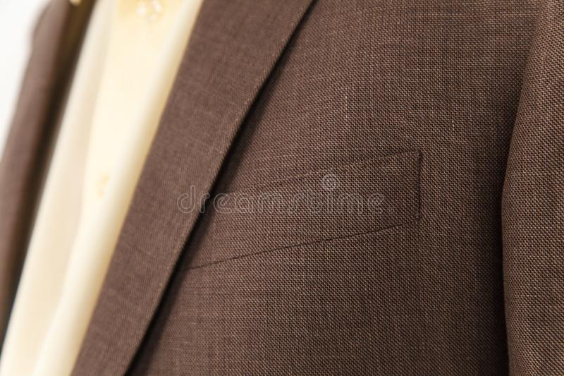 Chic and stylish suit. Business, neckline, classical, elegance. Chic and stylish suit, fashion background / Button suit stripe / Business, neckline stock photography