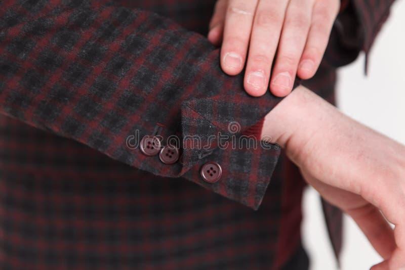 Chic and stylish suit. Business, neckline, classical, elegance. Chic and stylish suit, fashion background / Button suit stripe / Business, neckline stock photos
