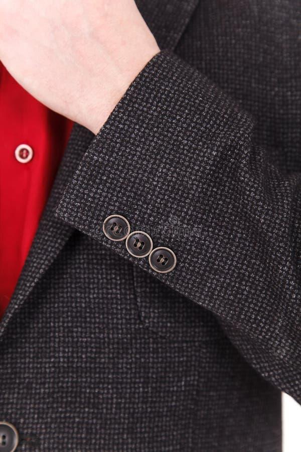 Chic and stylish suit. Business, neckline, classical, elegance. Chic and stylish suit, fashion background / Button suit stripe / Business, neckline stock image