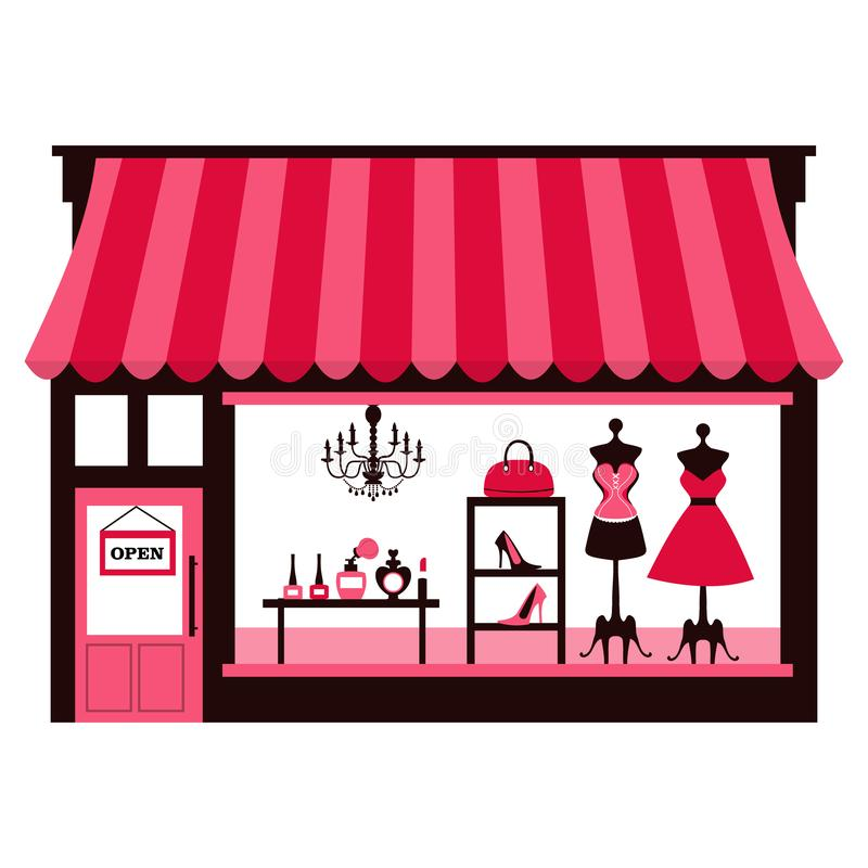 Girly Shopfront. A chic vector illustration of a girly/feminine shopfront with large window display. On the window display, there are dresses, shoes, bags and stock illustration