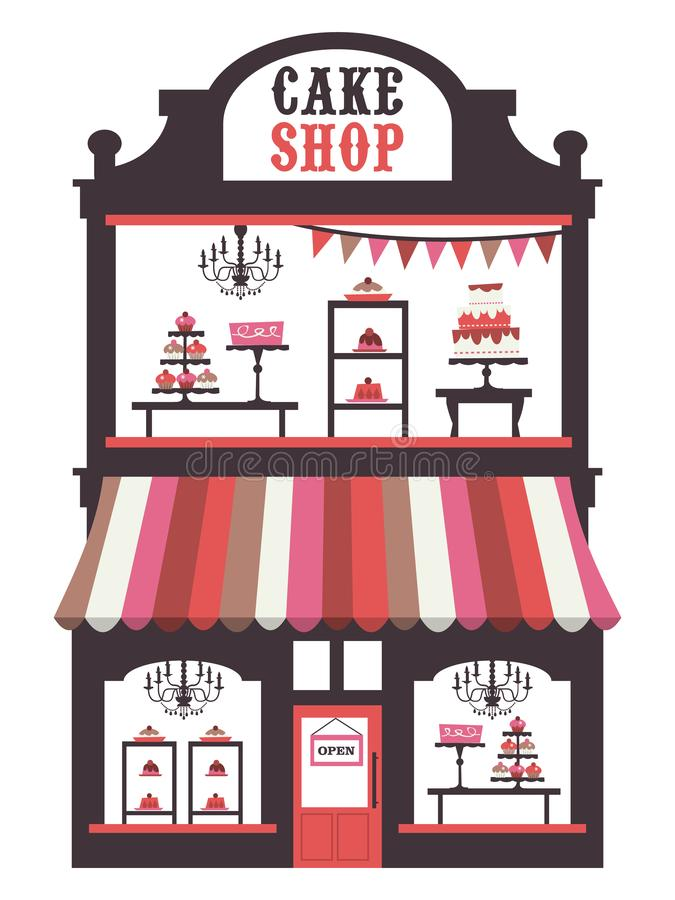 Vintage Victorian Cake Shopfront. A chic vector illustration of a vintage victorian double storey cake shopfront with large window display. On the window display royalty free illustration