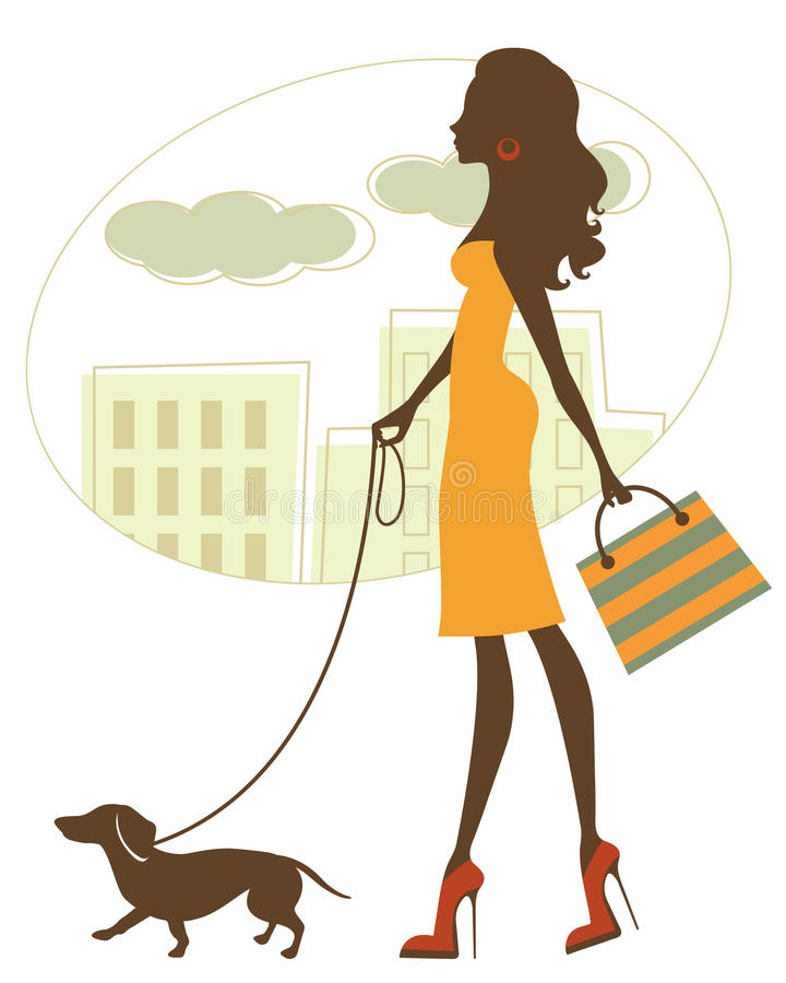 Chic woman walking with dachshund vector illustration