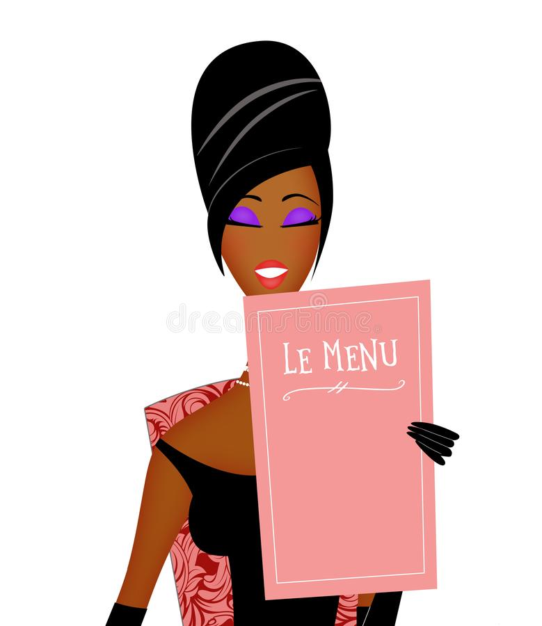 Free Chic Young Black Woman Reading A Restaurant Menu Stock Photo - 139771170