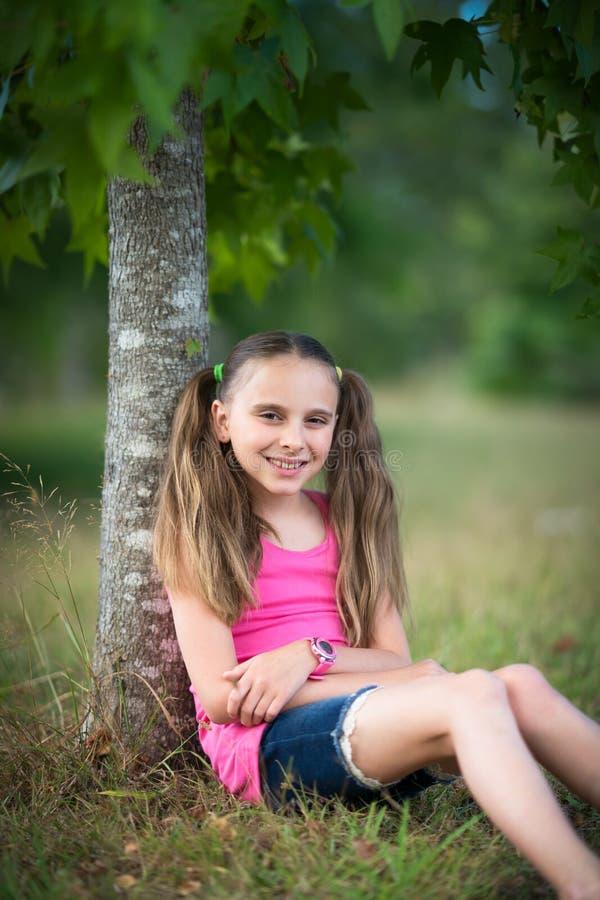 Chica con Pigtails fotografía de archivo