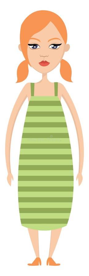 Chica en vector de ilustración de vestimenta verde ilustración del vector