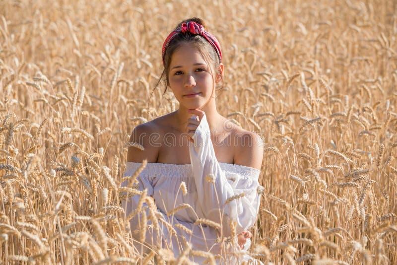 Chica joven adorable en campo de trigo de oro fotografía de archivo libre de regalías
