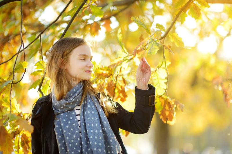 Chica joven adorable que se divierte en día hermoso del otoño Ni?o feliz que juega en parque del oto?o Ni?o que recolecta el foll foto de archivo