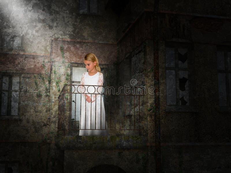 Chica joven, balcón, fantasía, imaginación foto de archivo libre de regalías