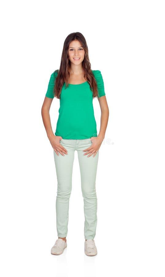 Chica joven casual en verde imagenes de archivo