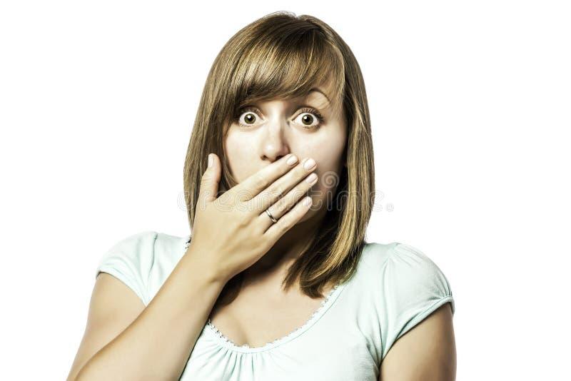 Chica joven chocada fotografía de archivo libre de regalías