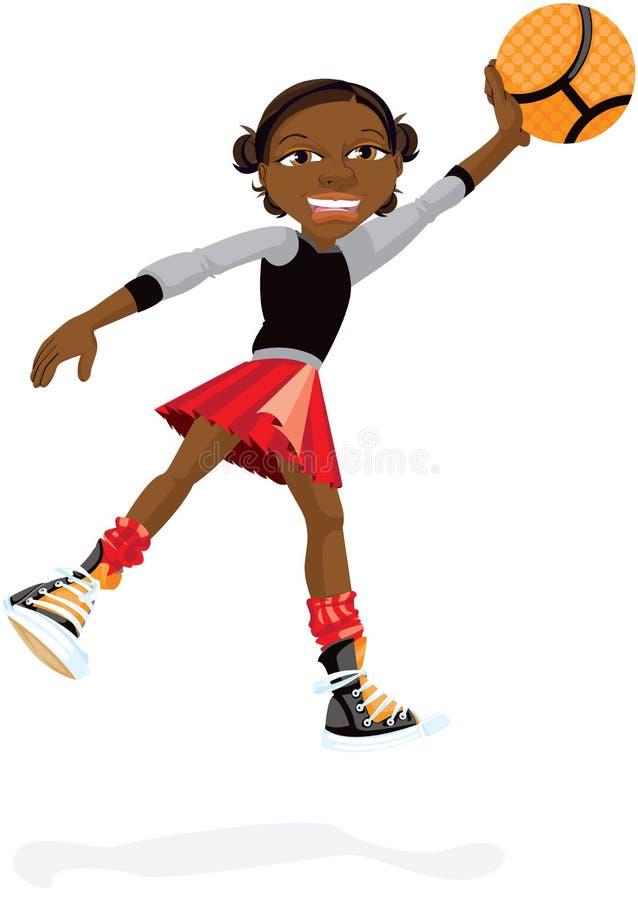 Chica joven con baloncesto ilustración del vector