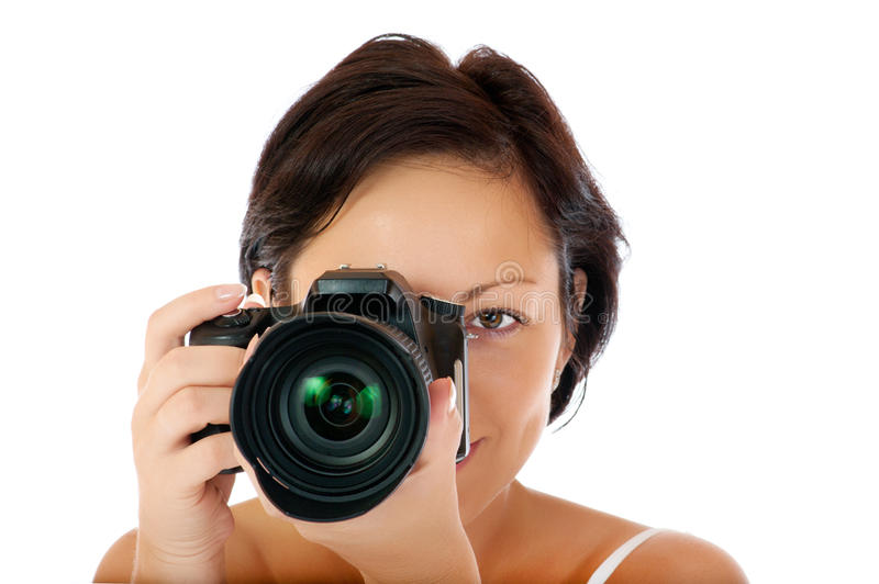 Chica joven con DSLR imagen de archivo