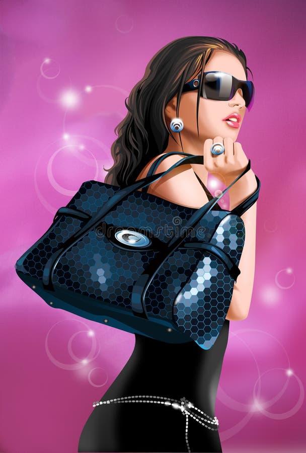 Chica joven con el bolso de la caída libre illustration