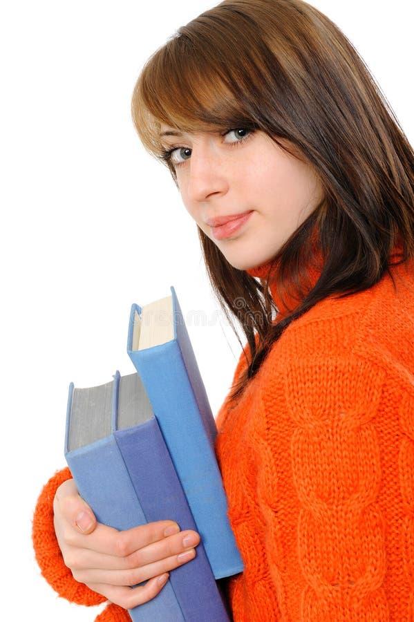 Chica joven con el libro imagen de archivo