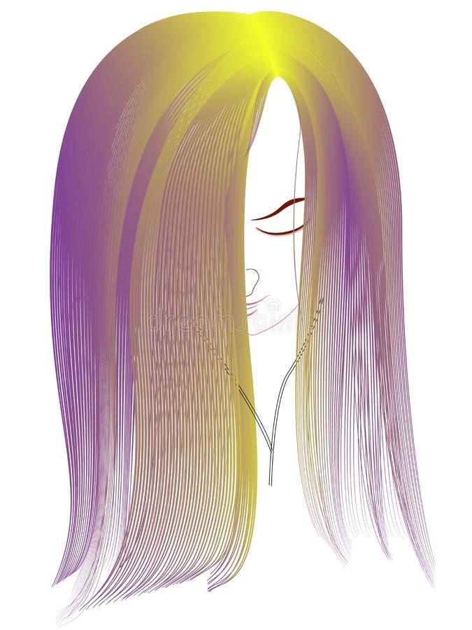 Chica joven con el pelo púrpura largo que escucha la música en el auricular stock de ilustración