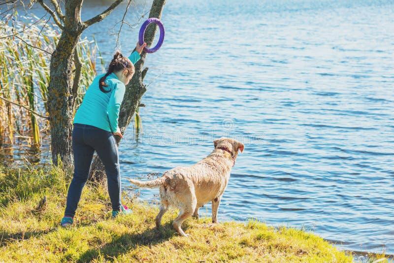 Chica joven con el perro en la orilla del lago foto de archivo libre de regalías