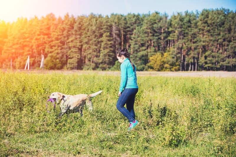 Chica joven con el perro que camina en el campo fotos de archivo