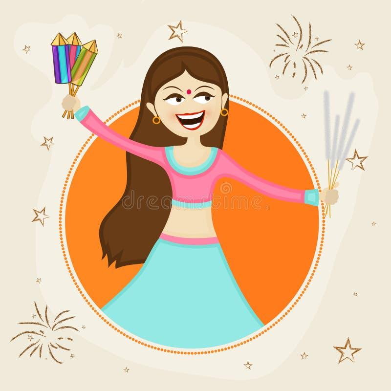 Chica joven con el petardo para la celebración de Diwali stock de ilustración