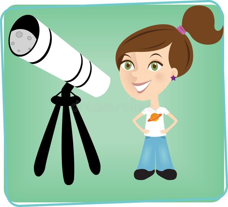 Chica joven con el telescopio. libre illustration
