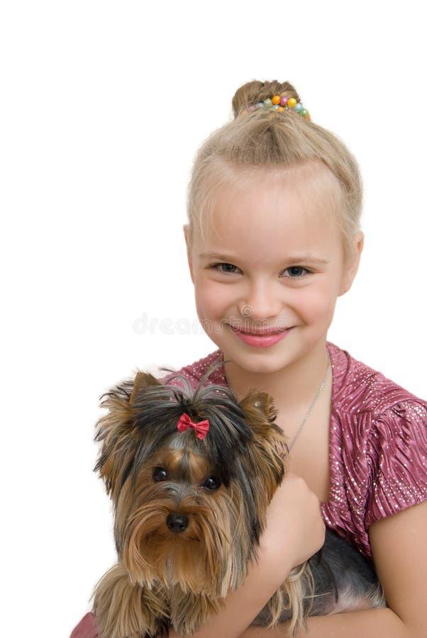 Chica joven con el terrier de Yorkshire lindo - mejores amigos imagen de archivo