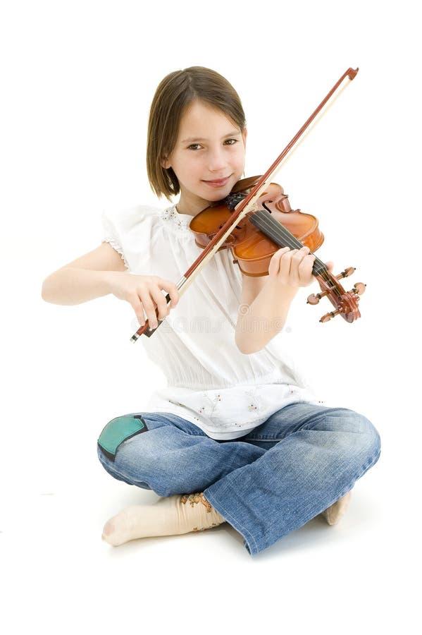 Chica joven con el violín imagen de archivo