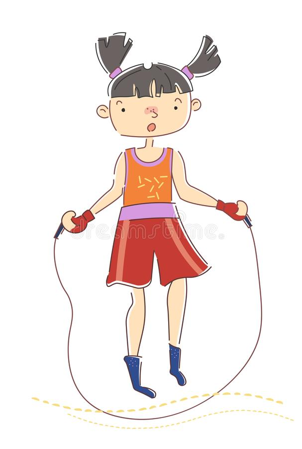 Chica joven con las coletas que saltan sobre una cuerda como ella calienta para su entrenamiento en un concepto de la salud, del  ilustración del vector