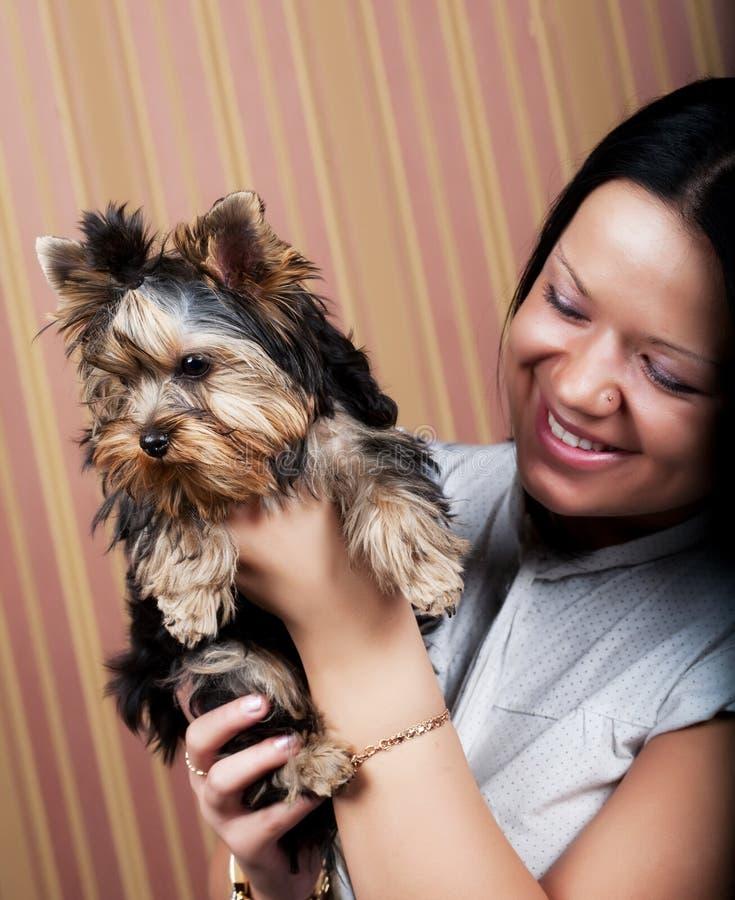 Chica joven con su perrito de Yorkie fotografía de archivo libre de regalías