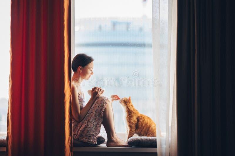 Chica joven con un gato rojo en casa imágenes de archivo libres de regalías