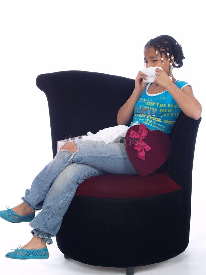 Chica joven con una angustia fotografía de archivo libre de regalías