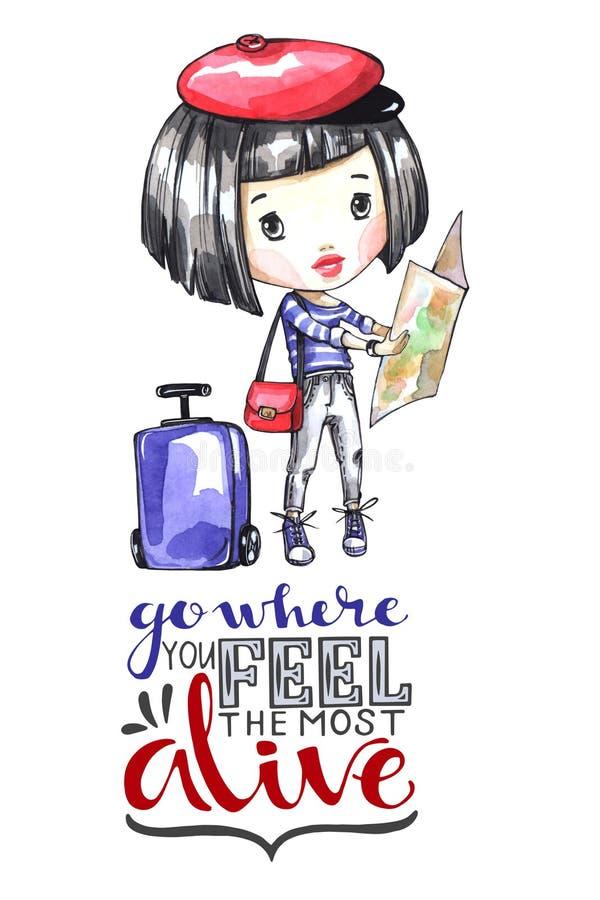 Chica joven del ejemplo de la acuarela con el bolso del viaje que mira el mapa Palabras de la caligrafía Aventura, vacaciones Pue stock de ilustración