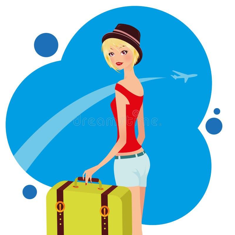 Chica joven del viajero libre illustration