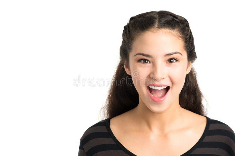 Chica joven emocionada fotografía de archivo libre de regalías