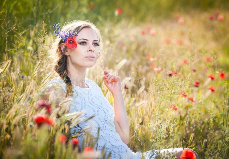 Chica joven en campo de trigo de oro fotos de archivo