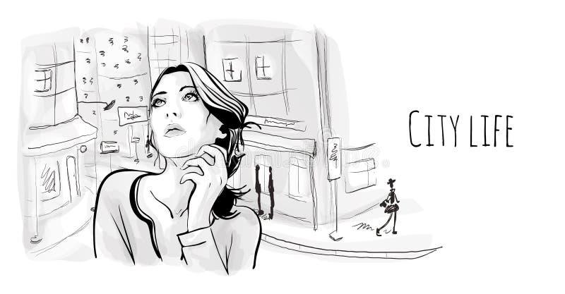 Chica joven en la calle de la ciudad vieja Ejemplo del retrato del vector en estilo del bosquejo ilustración del vector