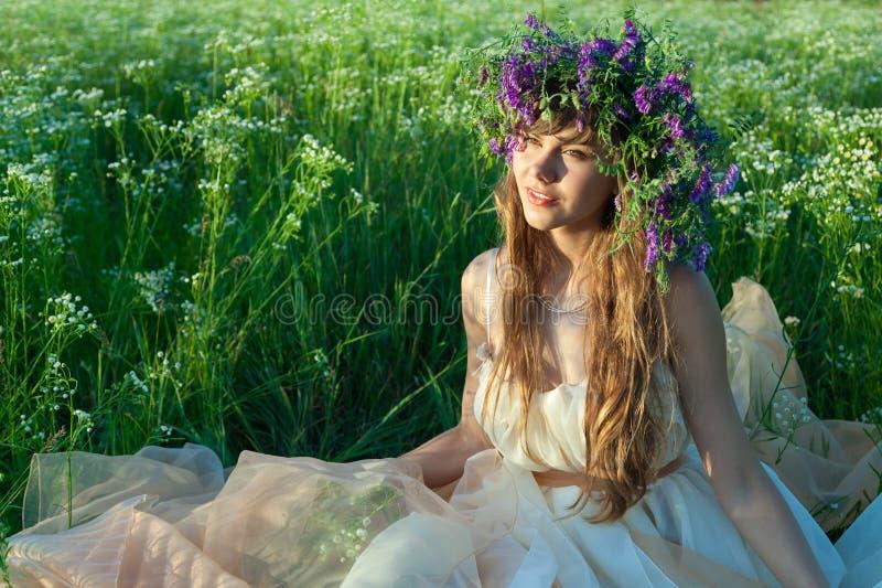 Chica joven en un campo de flores imagen de archivo libre de regalías