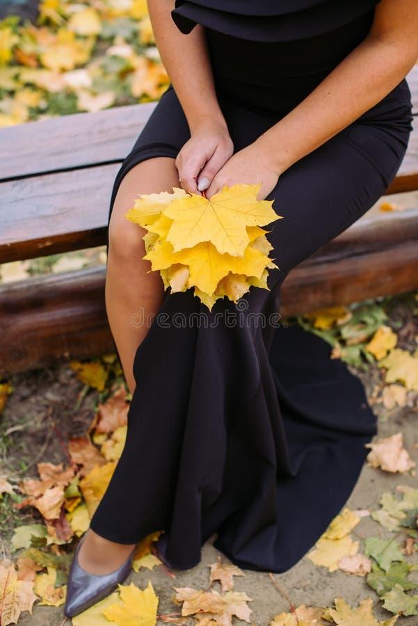 Chica joven en vestido negro con la hoja del roble fotografía de archivo