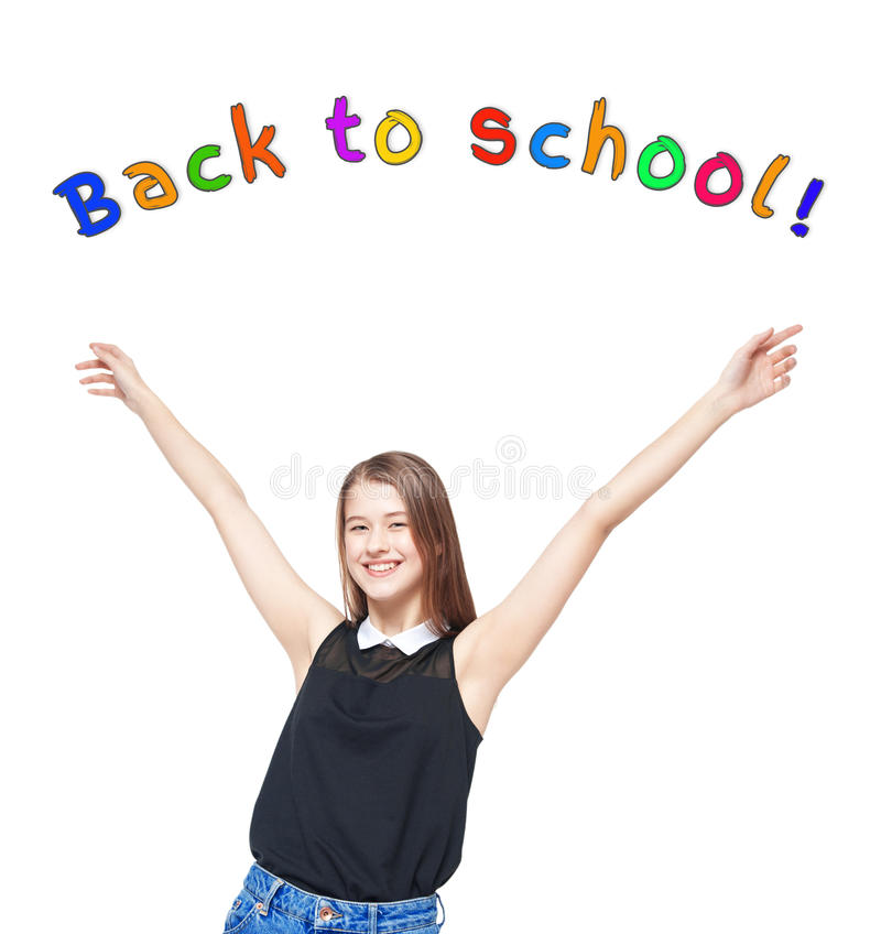 Chica joven feliz con las manos para arriba De nuevo a concepto de la escuela fotografía de archivo