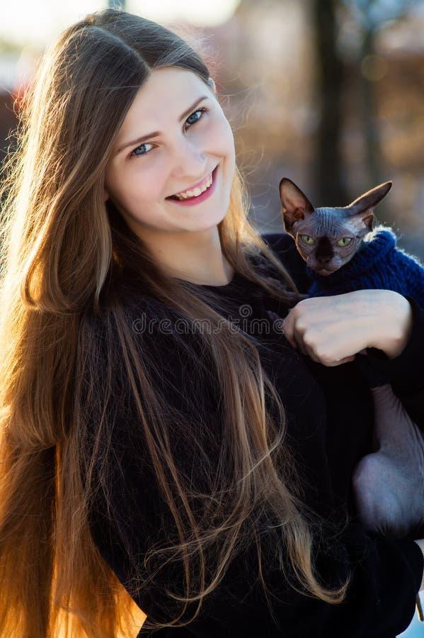 Chica joven hermosa con la esfinge de Don de la raza del gato en sus manos en invierno en el parque imagenes de archivo