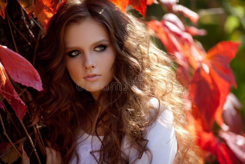 Chica joven hermosa con maquillaje y el pelo-vestido fotografía de archivo libre de regalías
