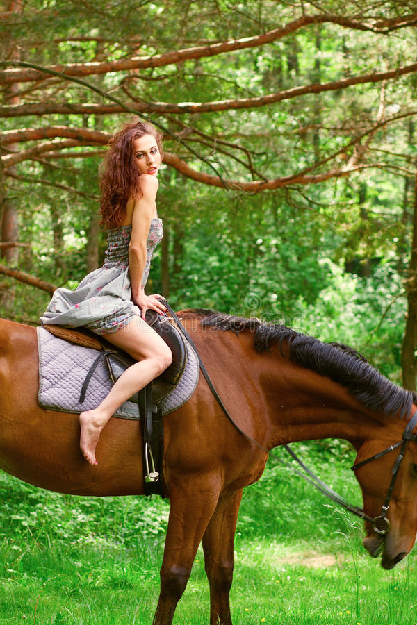 Chica joven hermosa en caballo fotos de archivo libres de regalías