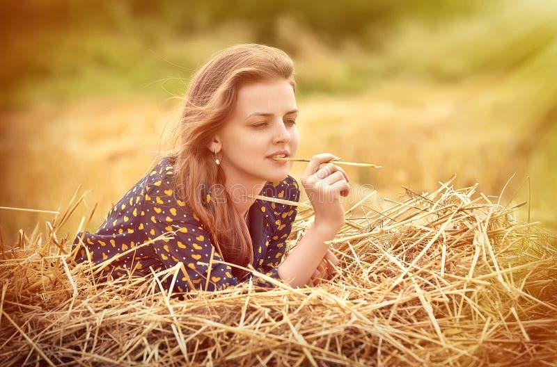 Chica joven hermosa en el prado imagenes de archivo