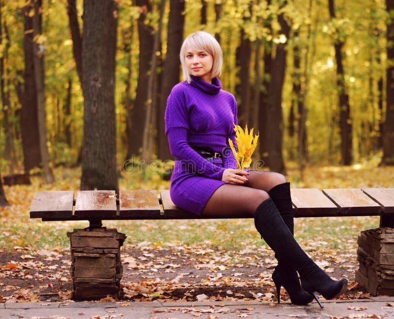 Chica joven hermosa en parque del otoño foto de archivo libre de regalías