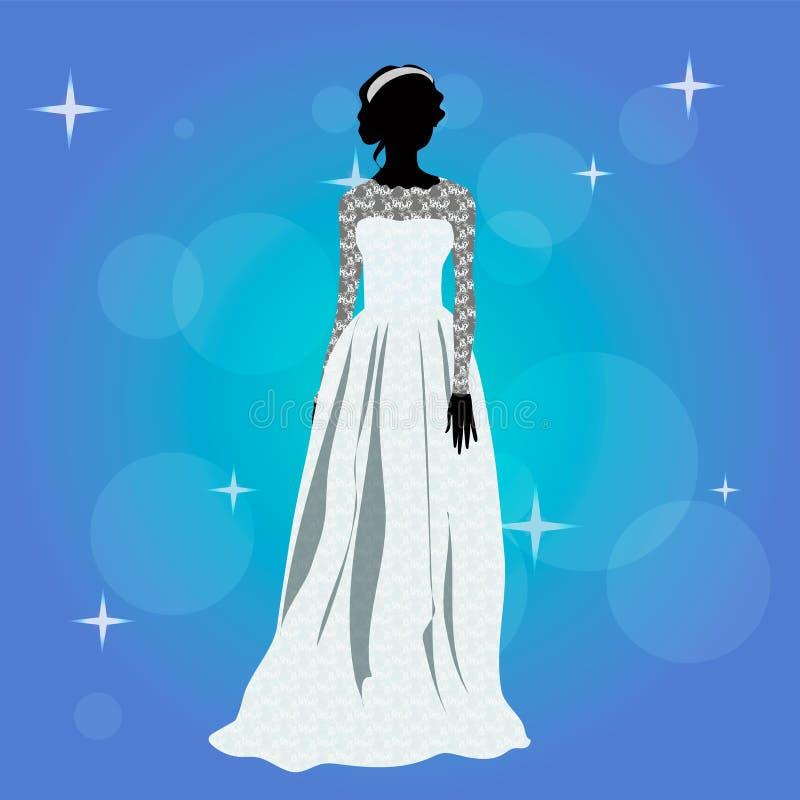 Chica joven hermosa en un vestido de boda stock de ilustración