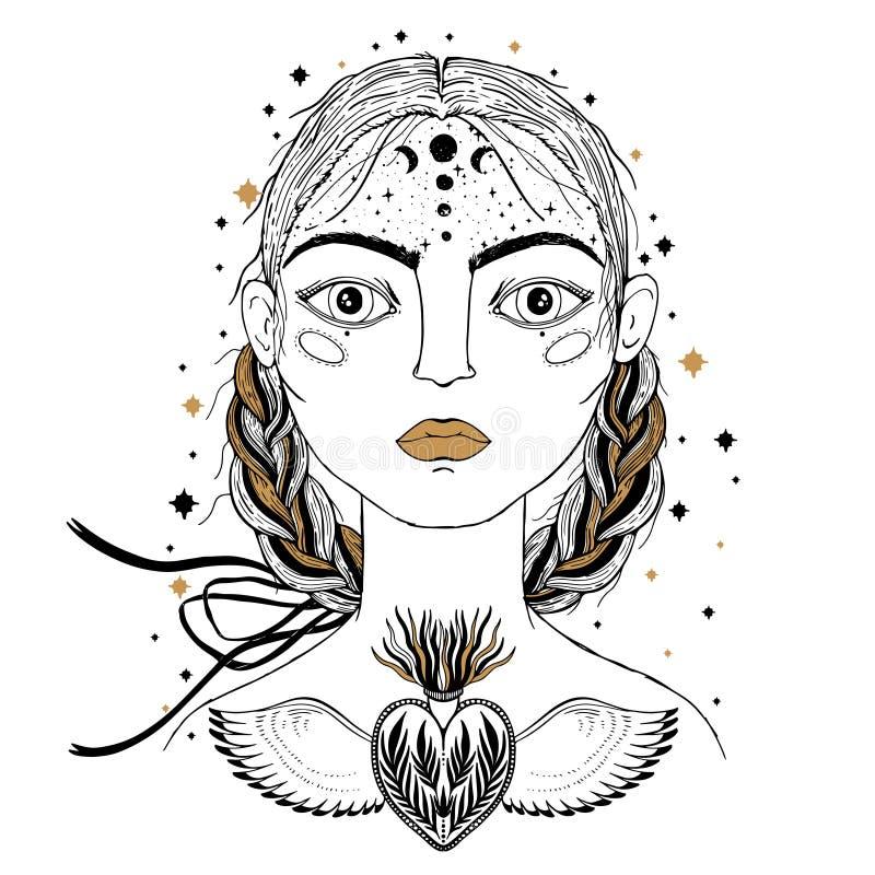 Chica joven hermosa, primero plano de la cara Estilo del bosquejo del vintage del dibujo Bosquejo para el tatuaje, impresión aisl libre illustration